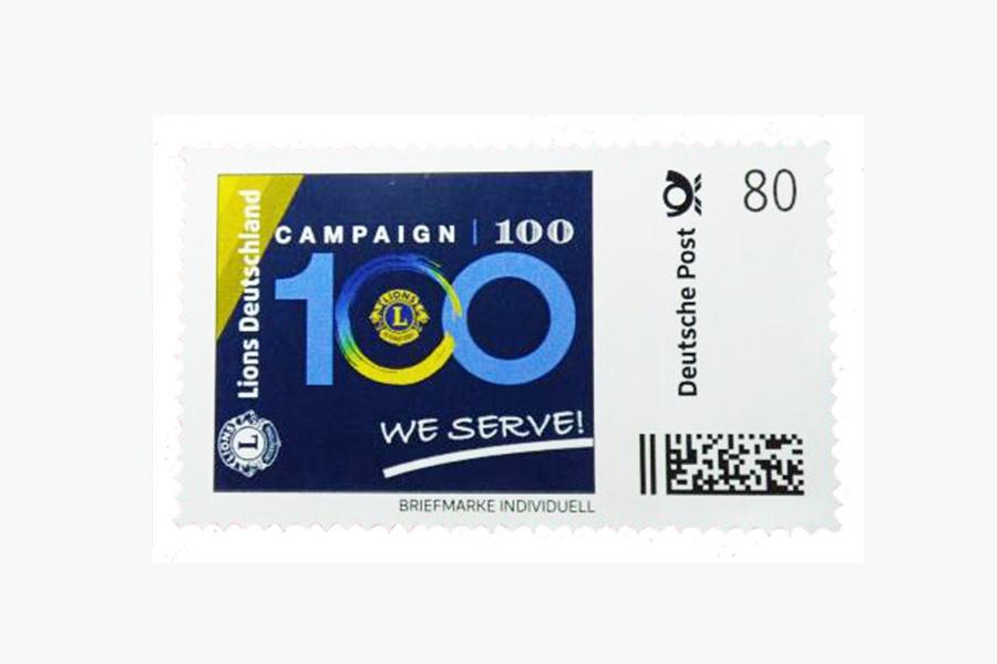 Die Stitungsbriefmarke zur internationalen Campaign 100