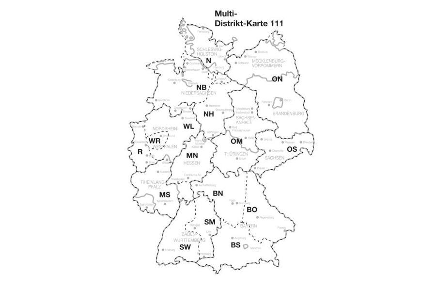 Eine Deutschlandkarte, aufgeteilt nach Distrikten der Lions